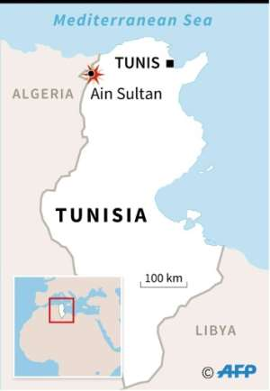 Map of Tunisia locating the Ain Sultan area of Jenduba border province.  By  (Graphics/AFP)