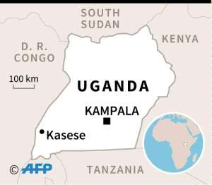 Map of Uganda locating Kasese where a five-year-old boy has died from Ebola.  By Valentina BRESCHI (AFP)