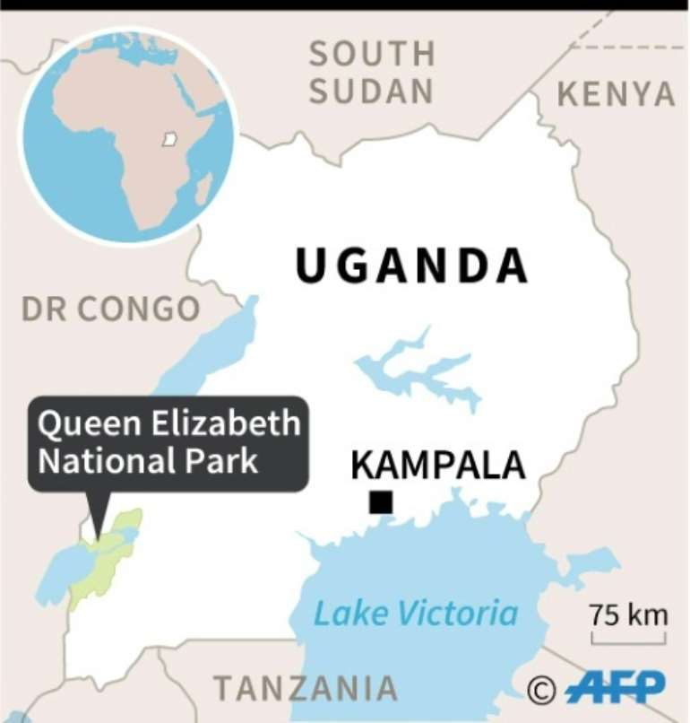 Map of Uganda locating the Queen Elizabeth National Park where an American tourist, driver were freed after ranson paid.  By  (AFP)