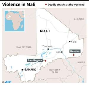 Map locating areas of deadly attacks against Malian and French soldiers in Mali at the weekend.  By Simon MALFATTO (AFP)