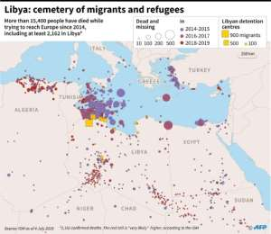 Map locating deaths of migrants and refugees since 2014 in the eastern Mediterannean, with a zoom on Libya, according to the International Organization of Migration.  By Thomas SAINT-CRICQ (AFP)