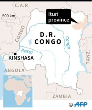 Map locating Ituri in the Democratic Republic of Congo.  By Vincent LEFAI (AFP)