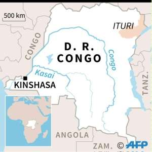 Map locating Ituri province in DR Congo, where the atrocities linked to by Ntaganda took place in 2002-3.  By Vincent LEFAI (AFP)