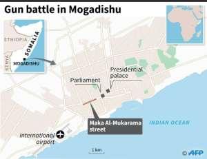 Map locating Maka Al-Mukarama street in Mogadishu where the attack took place. By Omar KAMAL (AFP)