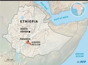Map locating the city of Hawassa and the Sidama region.  By Simon MALFATTO (AFP)