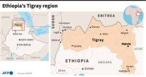 Map showing the Tigray region of Ethiopia.  By Aude GENET (AFP/File)