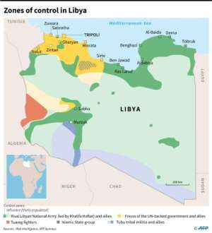 Map showing zones of control in Libya, as of April 5. By Thomas SAINT-CRICQ (AFP)
