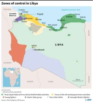 Map showing zones of control in Libya as of February 6, 2019.  By Thomas SAINT-CRICQ (AFP)
