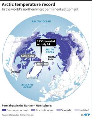 Map showing Alert, the world's northernmost settlement, which recorded record temperature on July 14.  By  (AFP/File)