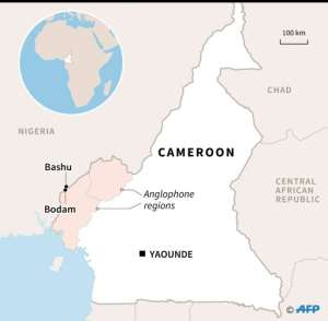 Map showing areas where thousands of Cameroonians have fled from violence in the English-speaking southwest to to the border region..  By Valentina BRESCHI (AFP)
