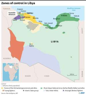 Map showing areas of control in Libya.  By Thomas SAINT-CRICQ (AFP)
