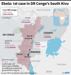 Map showing Ebola epidemic, number of cases and deaths in eastern DR Congo.  By Jean-Michel CORNU (AFP)