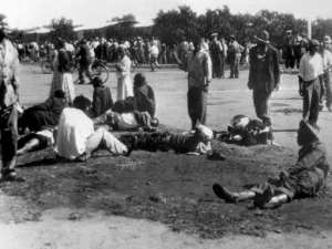 Massacre: Wounded people at Sharpeville.  By STRINGER (AFP/File)