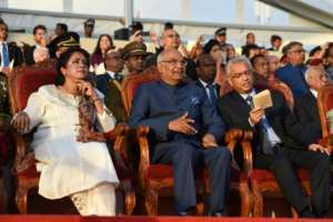 Mauritian President Ameenah Gurib-Fakim (L), Indian President Ram Nath Kovind (c) and Mauritian Prime Minister Pravind Jugnauth attend the 50th anniversary celebrations