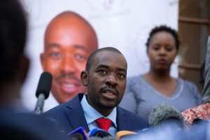 MDC leader Nelson Chamisa has attacked the election results as fraudulent.  By Jekesai NJIKIZANA (AFP)