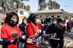 Members of a South African health workers union have staged protests to highlight the shortage of protective gear.  By WIKUS DE WET (AFP/File)