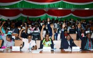 Members of Burundi's National Assembly vote on October 12, 2016 for the withdrawal of the International Criminal Court (ICC) from the capital
