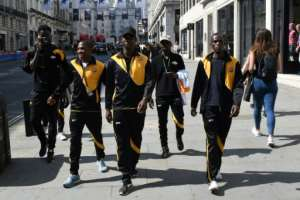 Members of the Matabeleland squad go on a sightseeing tour of London on the sidelines of the CONIFA World Football Cup on June 8, 2018.  By Robin MILLARD (AFP)