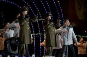 Members of the Moranbong band perform during a New Year's Eve countdown event on Kim Il Sung square in Pyongyang, North Korea.  By KIM Won Jin (AFP)