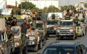 Members of the self-proclaimed eastern Libyan National Army in the city of Benghazi on June 18.  By Abdullah DOMA (AFP/File)