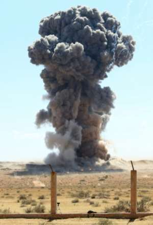 Military engineers of the UN-recognised Libyan Government of National Accord detonate an explosive device, uncovered from areas south of the capital, in the Libyan capital Tripoli on October 12.  By Mahmud TURKIA (AFP/File)