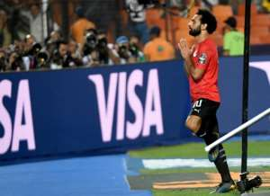 Mohamed Salah thanked fans after scoring for Egypt in Cairo in June.  By Khaled DESOUKI (AFP)