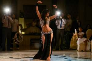 Moroccan belly dancer Maya Dbaich in 2014 -- Egypt has seen its community of homegrown belly dancers shrink.  By Amir MAKAR (AFP)