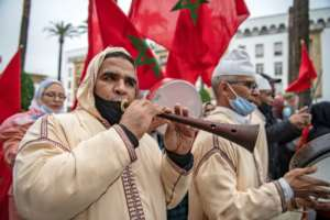 Moroccans celebrated on December 13 after the US adopted a new official map of Morocco that includes the disputed territory of Western Sahara.  By FADEL SENNA (AFP/File)