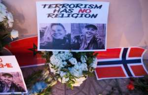 Moroccans paid tribute to Danish student Louisa Vesterager Jespersen (L) and Norwegian Maren Ueland after they were murdered. By FADEL SENNA (AFP/File)