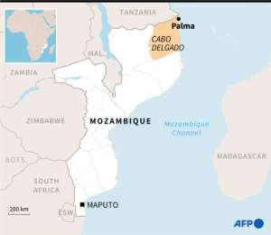 Map of Mozambique showing areas affected by Islamist insurgency, Renamo opposition bastions and gas blocs..  By Kun TIAN (AFP)