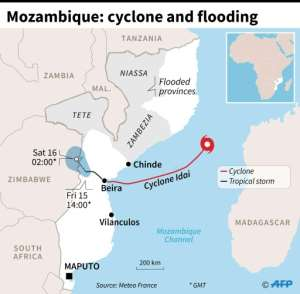 Map locating the path of tropical cyclone Idai which hit Mozambique before being downgraded to a tropical storm.. By Vincent LEFAI (AFP)