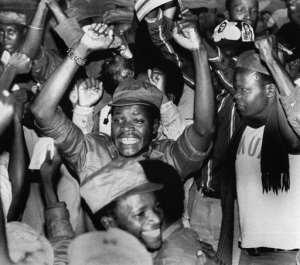 Mugabe rebel forces celebrated country's independence in 1980, becoming Zimbabwe, and ushering an era of hope.  By - (UPI/AFP)