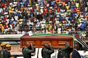 Mugabe's casket has been on display at a Harare stadium before a state funeral on Saturday.  By TONY KARUMBA (AFP)