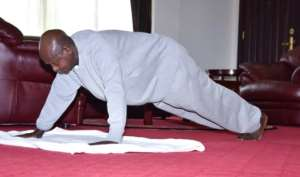 Museveni has sought to show he is fighting fit with push ups and other physical feats.  By - (Presidential Press Unit of Uganda/AFP)