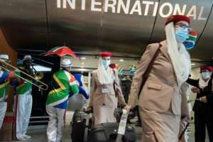 Musicians greeted arriving passengers and crew.  By RODGER BOSCH (AFP)