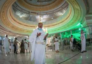 Muslims perform the Umrah in the Grand Mosque complex in the holy city of Mecca, after Saudi authorities partially resumed the year-round pilgrimage with extensive health precautions imposed after a seven-month coronavirus hiatus.  By - (Saudi Ministry of Hajj and Umra/AFP)