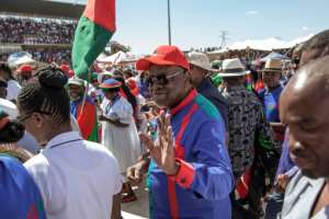 Namibian President Hage Geingob, elected in 2014, has faced increasing disgruntlement amid the ruling SWAPO party's inability to redistribute wealth to the majority black population.  By GIANLUIGI GUERCIA (AFP)