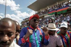 Namibian President Hage Geingob's popularity has waned among frustrated youth who have borne the brunt of the downturn.  By GIANLUIGI GUERCIA (AFP)