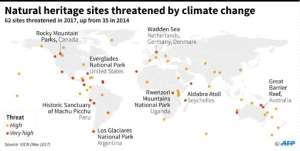World map locating natural World Heritage sites endangered by climate change