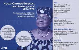 Profile of Nigeria's Ngozi Okonjo-Iweala, who takes office on March 1 as the World Trade Organization's first African and female head..  By Kenan AUGEARD (AFP)
