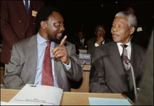 Nelson Mandela with Cyril Ramaphosa, who the South African president described as one of the most gifted leaders of the