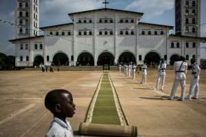 Nkamba's Kimbanguist temple during 2017 Christmas celebrations, observed in May instead of December since the year 2000.  By JOHN WESSELS (AFP/File)