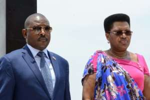 Nkurunziza and his wife Denise, seen at ceremonies last October for Burundian independence hero Prince Louis Rwagasore.  By STR (AFP)