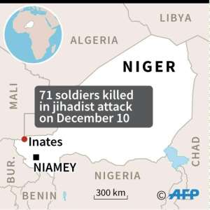 Map of Niger locating the jihadist attack on a military camp that killed at least 71 soldiers on Tuesday..  By AFP (AFP)