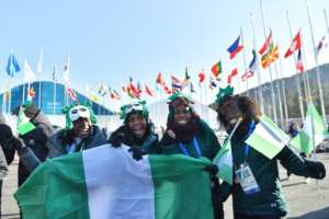 Nigeria's women's bobsleigh and skeleton team members Seun Adigun, Ngozi Onwumere, Akuoma Omeoga and Simidele Adeagbo at a welcoming ceremony at the Olympic village.