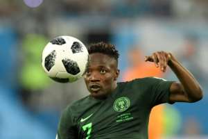 Nigeria's Ahmed Musa, pictured June 2018, opened the scoring after 15 minutes when his powerful shot from outside the box pinged off the crossbar before it hit the goalkeeper and bounced over the line.  By GABRIEL BOUYS (AFP/File)