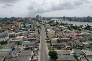 Nigeria's economic hub Lagos is also under lockdown, its streets emptied.  By Pierre FAVENNEC (AFP)