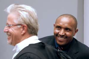 Ntaganda and his lawyer Stephane Bourgon (L) have rejected the former commander's nickname of 'Terminator'.  By Bas Czerwinski (ANP/AFP)