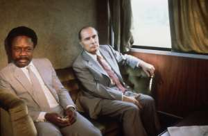 Omar Bongo and former French president Francois Mitterrand on the Transgabonais in January 1983.  By STF (AFP/File)