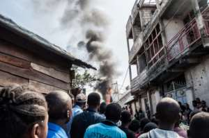 On Sunday, a Dornier-228 plane smashed into a densely-populated area of Goma shortly after takeoff.  By PAMELA TULIZO (AFP)